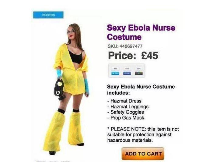 Bizar: Ebola Halloween zuster kostuum. Dit is echt bizar: voor Halloween zijn er zelfs Ebola kostuums. Lees hier alles over deze stunt. Shocking!