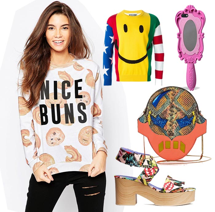 Modegek: fashion trend 2015. Smiley's, shirts met leuke opdrukken en teksten, felle prints en kleuren. Alles over de modegek fashion trend van 2015.
