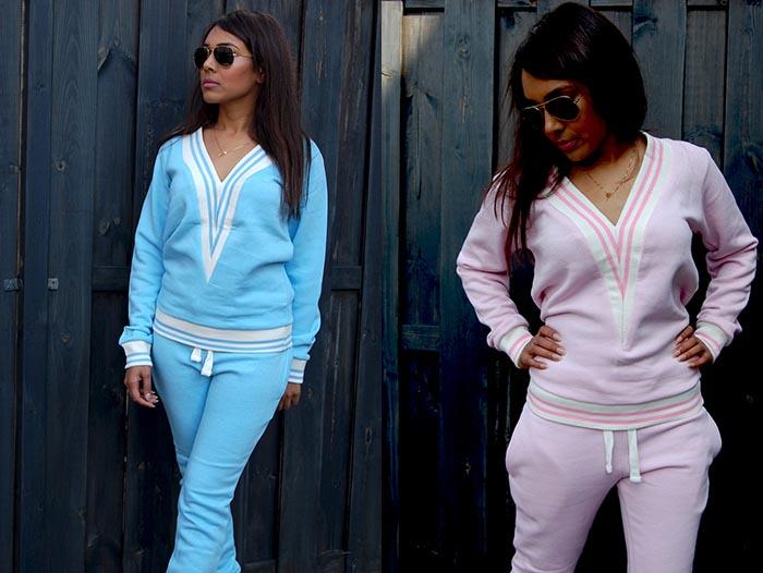 Tracksuit dames joggingspak in baby roze en baby blauw. Shop nu online. Tracksuit voor de echte fashionista. Een echte musthave voor je garderobe.